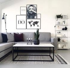 67 inspirational modern living room decor ideas for small apartment you will like it 11 Small Living Room Ideas Apartment Decor Ideas inspirational Living Modern Room Small Living Room Grey, Living Room Modern, Home Living Room, Interior Design Living Room, Modern Wall, Modern Decor, Black White And Grey Living Room, Living Room Decor Ideas Grey, Grey Couch Decor