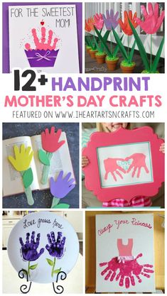 12 Adorable Handprint Mother's Day Crafts For Kids I Heart Arts n Crafts - Easy Crafts for All Easy Mother's Day Crafts, Mothers Day Crafts For Kids, Diy Mothers Day Gifts, Mothers Day Cards, Fun Crafts, Arts And Crafts, Mothers Day Gifts Toddlers, Handmade Gifts For Grandma, Baby Crafts