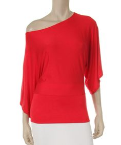 Look at this J-Mode USA Los Angeles Red Dolman Off-Shoulder Top on #zulily today!