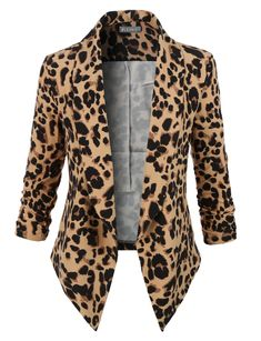 Sharpen your wardrobe with this leopard 3/4 sleeve draped open front blazer. A softly draped open-front silhouette softens the look while the asymmetrical hem adds a modern touch to this blazer. This blazer is perfect for either professional environment or for casual wear. Feature 97% Polyester / 3% Spandex Lightweight, ultrasoft material for comfort Draped front / Open front / No closure Ruched sleeves for style Hand wash cold / Do not bleach / Low iron / D...