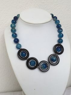Faceted blue striped agate and onyx necklace leo zodiac