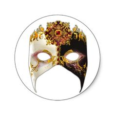 SOLD: Venetian Masque: Ruby Red Jewel Round Stickers. Thank you to the purchaser!
