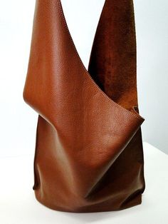 Shoulder Handbag In Leather - Caramel Brown Color