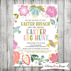 Easter Egg Hunt Invitation - Easter Brunch Invite - 5x7 JPG