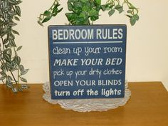 Bedroom rules | Primitive Bedroom Rules wood sign by CCWD, $15.99