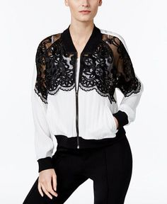 YYIGAL Lace-Inset Bomber Jacket, a Macy's Exclusive Style