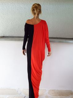 Black & Red Long Sleeve Maxi Dress / Black & Red Kaftan / Asymmetric Plus Size Dress / Oversize Loose Dress / #35057  This elegant, sophisticated, loose and comfortable maxi dress, looks as stunning with a pair of heels as it does with flats. You can wear it for a special occasion or it can be your everyday comfortable dress. - Handmade item  - Materials : viscose   * Viscose is a very soft stretch fabric, thin, comfortable and it drapes beautifully.   * Please Note : To keep a stock of a…