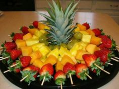 Luau fruit trays ideas: fruit skewers for a party cut top off of pineapple to, diy party luau party fruit tray display pineapple tree, hawaiian luau party watermelon whale, carved watermelon Baby shower food display= Fruit skewers for a party Cut top off Fruit Recipes, Cooking Recipes, Picnic Recipes, Guava Recipes, Tostada Recipes, Detox Recipes, Cooking Tips, Healthy Snacks, Healthy Eating