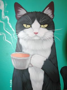 Coffee Cat - Chung Lee My two favorite things!