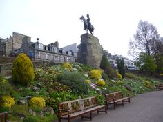 Monument to The Royal Scots Greys in Princes Street Gardens, Edinburgh. Stay nearby at Craigwell Cottage - a self-catering property in the heart of Edinburgh.  Within easy walking distance of Princes Street.