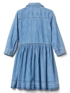Let-down denim shirtdress Annie Costume, Baby Kids Clothes, Shirt Dress, Ruffles, Maternity, Long Sleeve, Sleeves, Denim, 4 Years