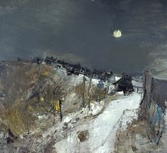 Joan Eardley, Catterline in Winter, Oil on hardboard, x cm (framed dimensions: x x cm). Purchased Scottish National Gallery of Modern Art © Estate of Joan Eardley. All Rights Reserved, DACS 2015 Abstract Landscape Painting, Landscape Art, Landscape Paintings, Gallery Of Modern Art, Wow Art, Winter Art, Contemporary Landscape, Nocturne, Winter Landscape