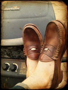 real penny loafers...was always jealous of my sister's penny loafers.  :)