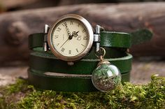 Green leather watch three laps wrist watch nature by SomeMagic