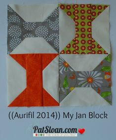 Pat sloan 2014 jan aurifil block - flip and stitch Old Quilts, Barn Quilts, Vintage Quilts, Quilting Tutorials, Quilting Projects, Quilting Designs, Quilt Block Patterns, Quilt Blocks, Spool Quilt