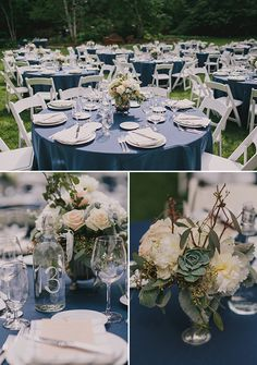 navy and white recpetion ideas