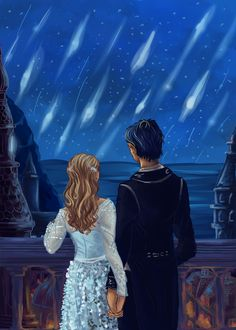 Starfall. Ye, I know this isn't exactly how it happened in the book, but I had this image in my head when reading the scene and had to paint it. I was going to add Rhys's wings but they didn't want to co-operate. On the plus side, Feyre's dress was...