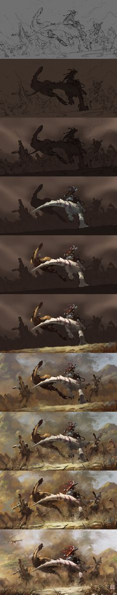 The painting process of Hunting by 6kart.deviantart.com on @deviantART