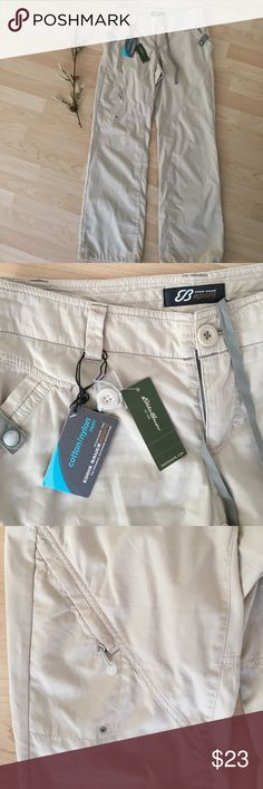 EDDIE BAUER travel pants NWT Eddie Bauer cotton/nylon pants size 4 NWT. Light tan. Great for camping and travel! Eddie Bauer Pants