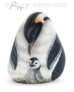 Acrylic on stone - penguin adult and chick - A Rare Shaped Stone Transformed in Two Emperor by RobertoRizzoArt
