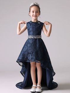 Diamond Lace Solid Color Round Collar Sleeveless Long Dress wedding dresses for kids Wedding Dresses For Kids, Baby Girl Party Dresses, Party Wear Dresses, Little Girl Dresses, Cute Dresses, Girls Dresses, Flower Girl Dresses, Dress Anak, Kids Gown