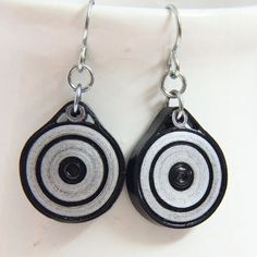 Eco Friendly Earrings Black and Silver Circle with by HoneysHive, $22.00