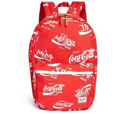 The Herschel Supply Co. Brand 'Lawson' Coca-Cola® print backpack ($100) ❤ liked on Polyvore featuring bags, backpacks, red, day pack backpack, red backpack, plastic bags, holdall bag and print plastic bags