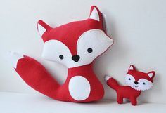 Plush Red Foxes  Mommy and her Baby by CarrotFever