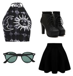 """""""Edgy Summer"""" by abigail-truenow on Polyvore featuring Boohoo, Ray-Ban, women's clothing, women, female, woman, misses and juniors"""