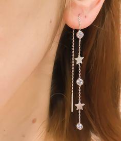 Sterling Silver Threader Earrings, Ear Threader, Thread Earrings, Long Star Chain Earrings, Dainty Earrings, Long Earrings, Chain Earrings by TrendSilver on Etsy