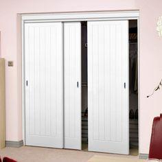 Three Sliding Wardrobe Doors & Frame Kit - Textured Vertical 5 Panel. #wardrobedoors #whitedoors Sliding Wardrobe Doors, Closet Doors, 5 Panel Doors, Door Texture, Door Kits, White Doors, White Paneling, Tall Cabinet Storage, Closets