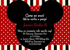Mouse Red and Black Birthday Invite Card Can be Personalized or Customized Invitation JPEG Printable Children Holiday