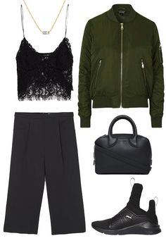 3 Outfits to Wear with Rihanna's Fenty x Puma Trainer - With a Lace Cami, Bomber, and Culottes - from InStyle.com