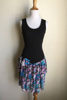 Black Purple Blue Floral Bodycon Dress Sleeveless by Infrequenties