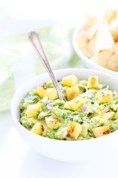 Grilled Pineapple Guacamole Recipe on twopeasandtheirpod.com The ultimate guacamole for summertime! Serve it at all of your summer BBQ's!