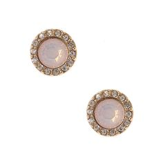 Pink Stone and Crystal Button Stud Earrings