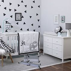Nojo Roar Crib Bedding Set In Black/white - NoJo's Roar Crib Bedding Collection will surround your little treasure with modern, yet classic prints. This Crib Bedding Set will transform the nursery, creating a bold look suitable for your little dreamer. Crib Bedding Boy, Baby Bedding Sets, Comforter Sets, Crib Sets, Black White Nursery, Modern Crib, Baby Room Design, Baby Boy Rooms, Bedding Collections