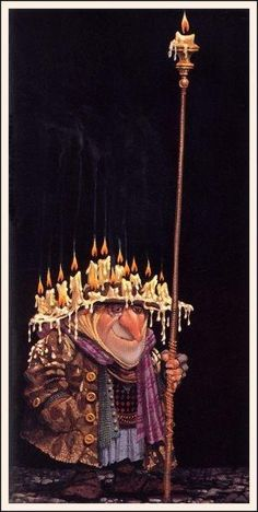 Frank was glad he didn't have to burn the candle at both ends. - James Christensen illustration