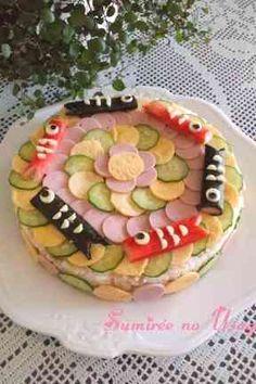 こどもの日♪楽しい♪こいのぼり寿司ケーキの画像