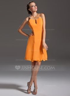 Cocktail Dresses - $113.99 - A-Line/Princess Halter Knee-Length Chiffon Cocktail Dress With Beading (016006692) http://jjshouse.com/A-Line-Princess-Halter-Knee-Length-Chiffon-Cocktail-Dress-With-Beading-016006692-g6692?ver=1