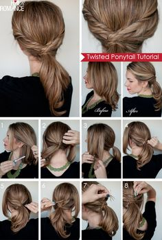 Hair Romance : Twisted ponytail tutorial this looks do-able Twist Ponytail, Twist Braid Hairstyles, Twist Braids, Elegant Hairstyles, Pretty Hairstyles, Easy Hairstyles, Style Hairstyle, Braided Ponytail, Ponytail Girl