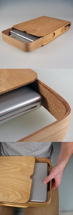 This project is an exploration into the process of bending plywood.The laptop case is formed from two bend panels of plywood which slide along one another to encase the laptop computer.The case is lined with cork to provide additional heat resistance an… Wood Projects, Woodworking Projects, Woodworking Workbench, Furniture Projects, Bending Plywood, Wood Furniture, Furniture Design, Wooden Bag, Wood Boxes