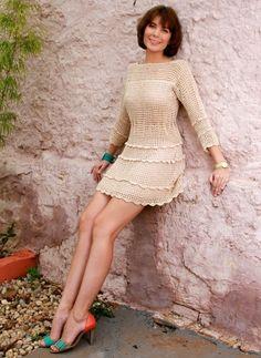 Blouse Dress, Knit Dress, Dress Skirt, Hippie Crochet, Mohair Sweater, Crochet Clothes, Crochet Dresses, Crochet Stitches, Beautiful Dresses