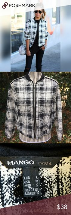 Coming soon Mango Casual plaid bomber jacket in black and ivory.  Sz L: better for Sz M or small bust L. Thick 100% cotton material. Machine wash up to 85 deg F. Measurements: Armpit to armpit-  Armpit to bottom hem- Armpit to Sleeve hem- Bottom hem across- No: rips, holes, snags, stains. Smoke free home. Mango Jackets & Coats