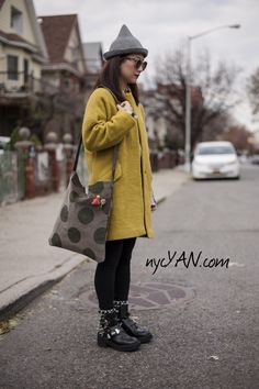 New Velvet Pokka Dot Tote Bag @nycYAN.com