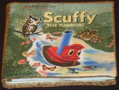 Scuffy The Tugboat, Fabric Book Panel,. $4.50, via Etsy.