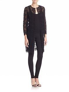 Ralph Lauren Collection - Leanna Sheer Floral-Lace Duster