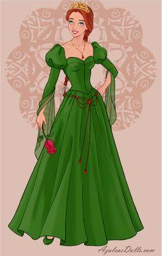 Princess Fiona in Wedding Dress Design dress up game Disney Princess Fashion, Disney Princess Art, Disney Princess Dresses, Anime Princess, Disney Art, Princesa Anastasia, Gown Drawing, Non Disney Princesses, Princess Academy