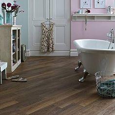Lovely period bathroom featuring wood effect Karndean Mid Limed Oak vinyl floor tiles.  #limed #oak #flooring