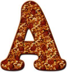 Alfabeto Decorativo: Alfabeto - Pizza 1 - PNG - Letras - Maiúsculas e M...